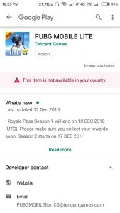 PUBG Lite Play Store