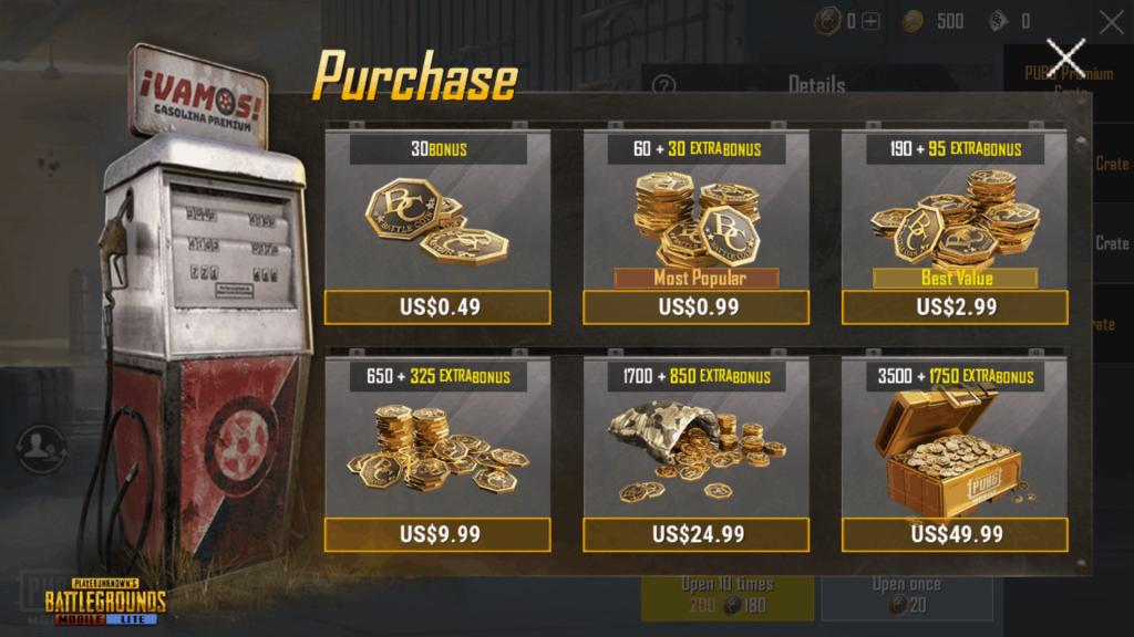PUBG LITE Battle Coins