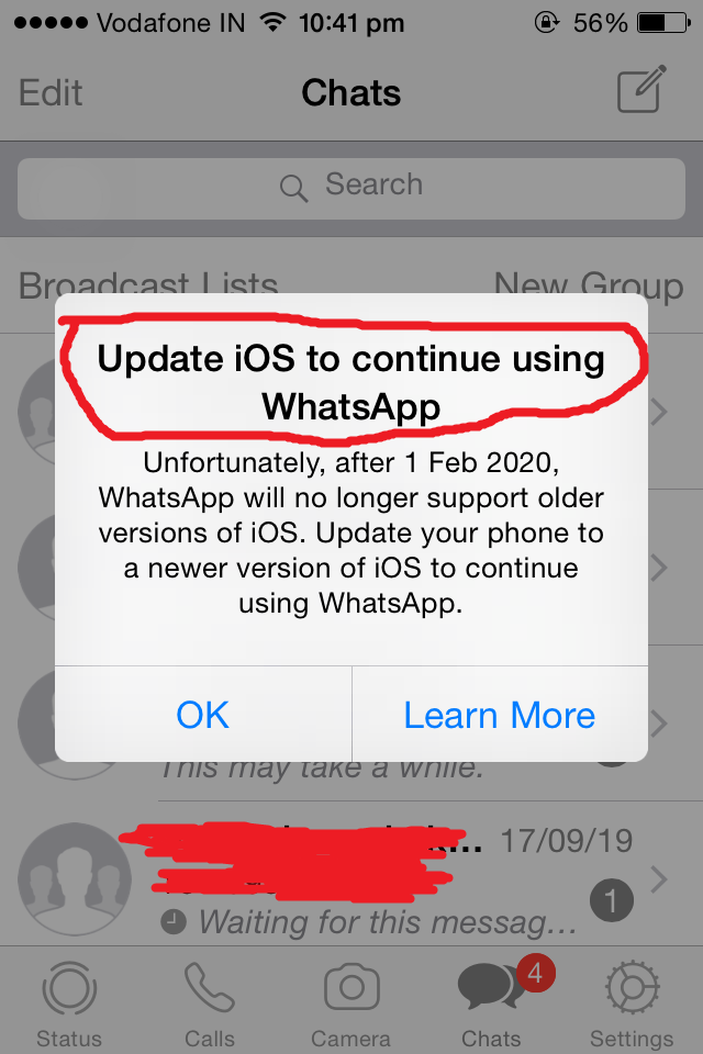 WhatsApp iOS 8