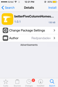 Btter Five Home Screen Tweak